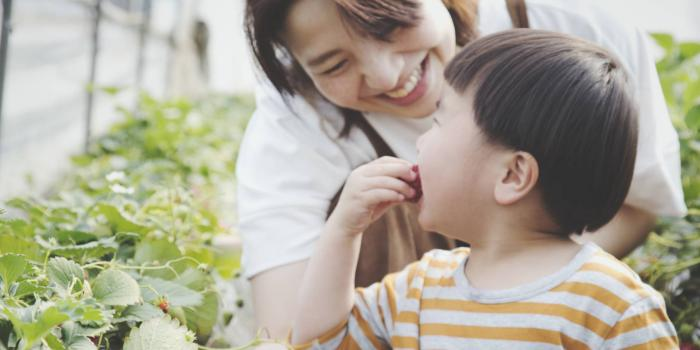 Mom and child eating strawberries