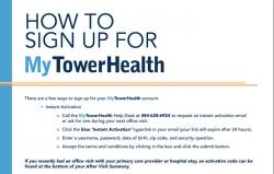 screenshot of PDF instructions for signup to MyTowerHealth