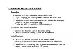 Screenshot of informational packet on rotation requirements for the podiatry residency.